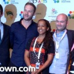 Jenna Bass left receives her award for SA Film at the 35th Durban International Film Festival.